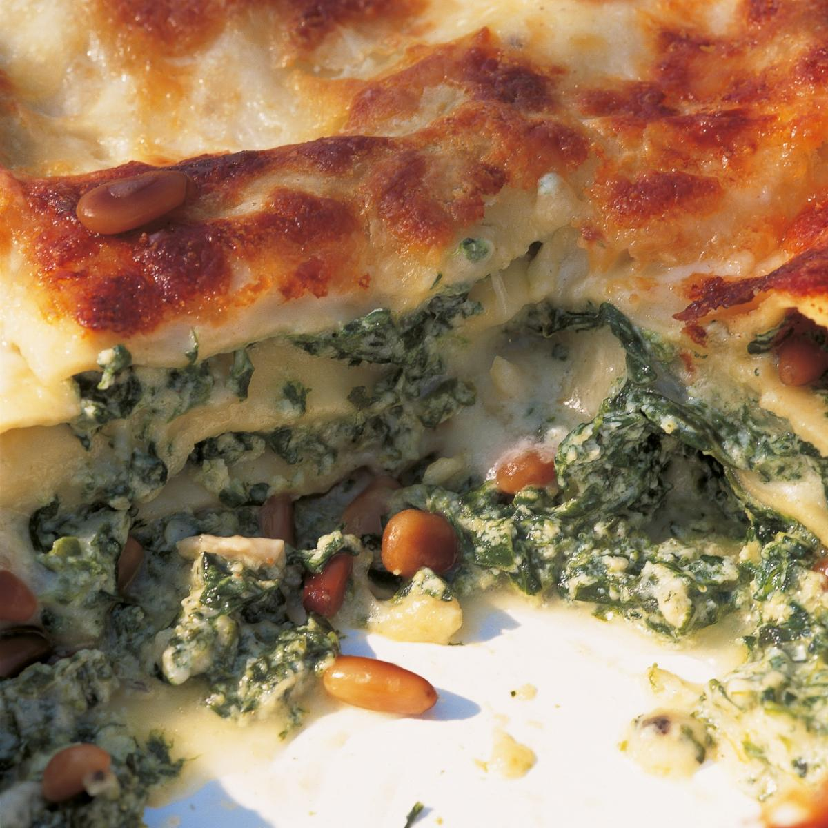 Htc spinach and ricotta lasagne with pine nuts