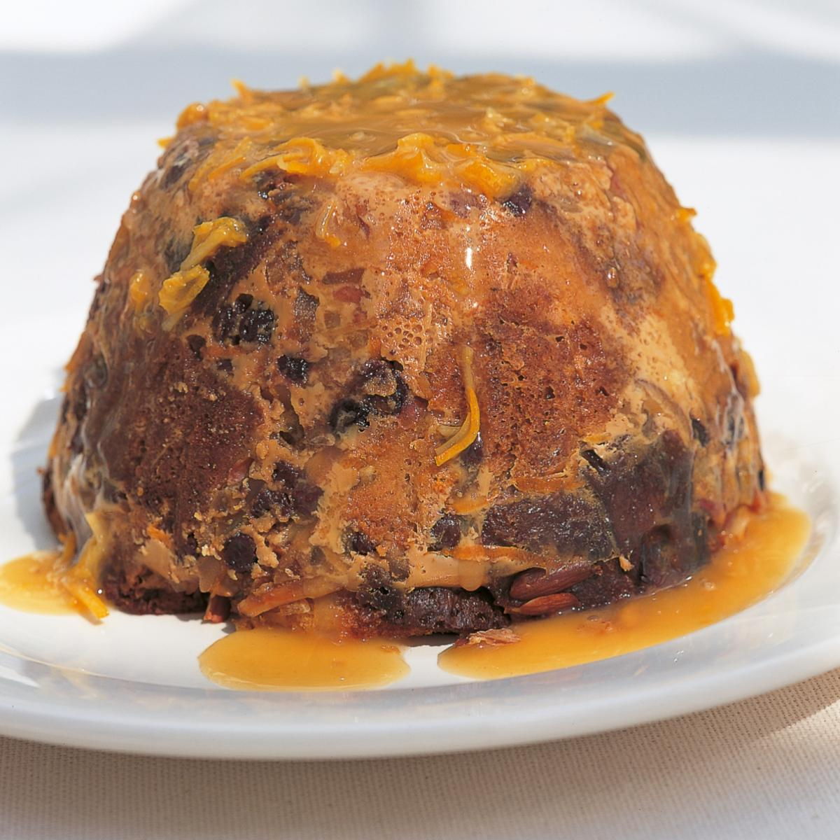 A picture of Delia's Steamed Panettone Pudding with Eliza Acton's Hot Punch Sauce recipe