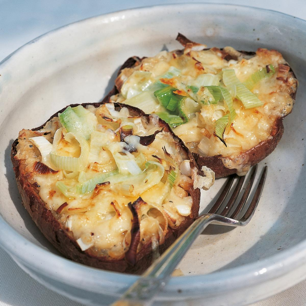 Stuffed Jacket Potatoes with Leeks, Cheddar and Boursin ...