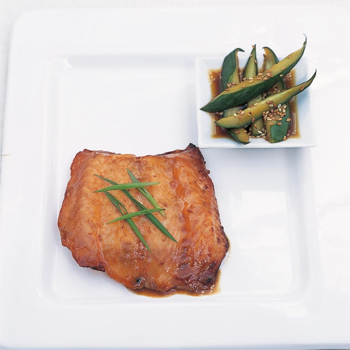 Htc teriyaki grilled marinated salmon with marinated cucmber and sesame salad