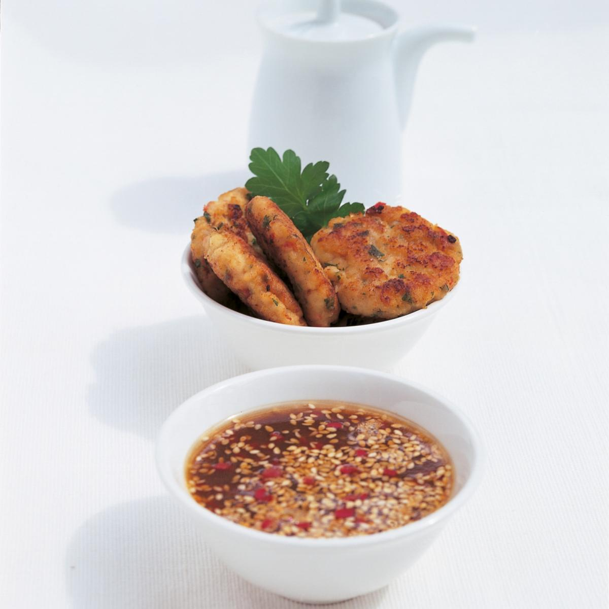 A picture of Delia's Thai Fish Cakes with Sesame and Lime Dipping Sauce recipe