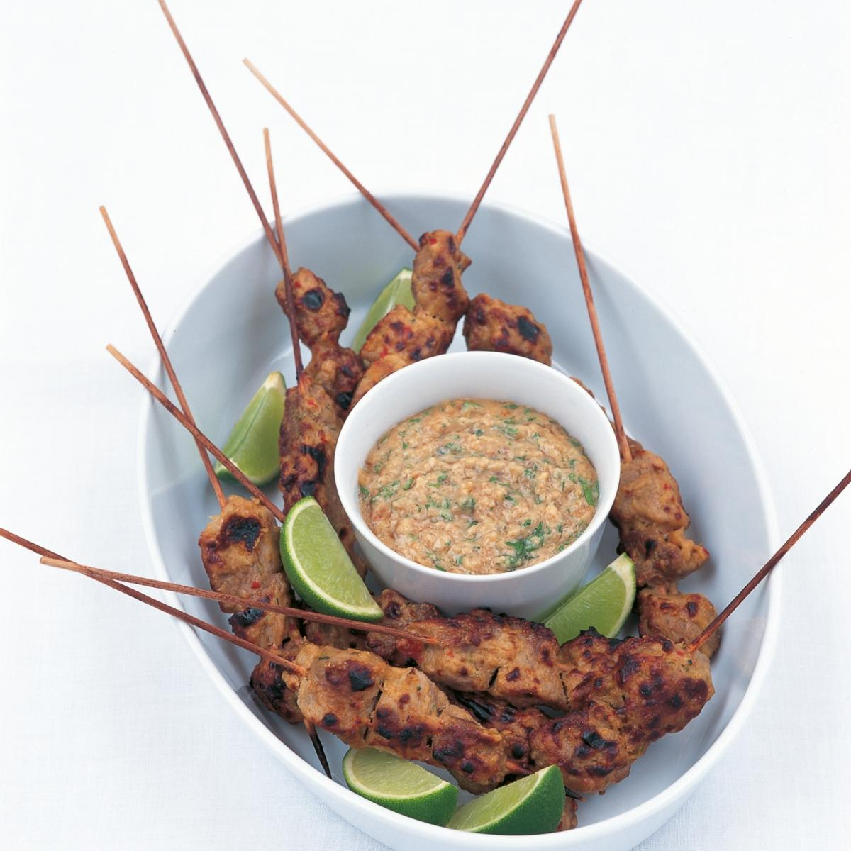 A picture of Delia's Thai Pork Satays with Thai Peanut Sauce recipe