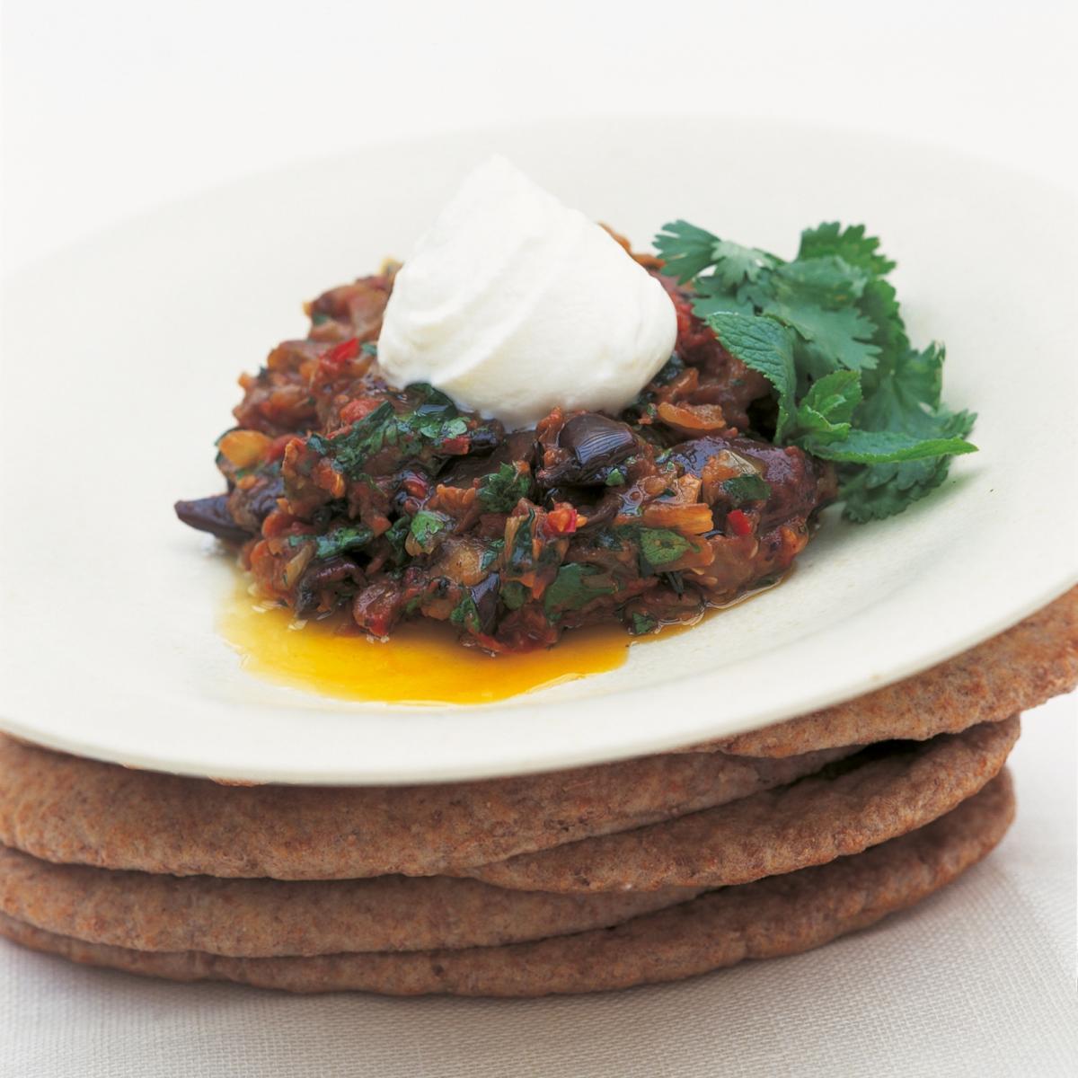 A picture of Delia's Tunisian Aubergine Salad with Coriander and Yoghurt recipe