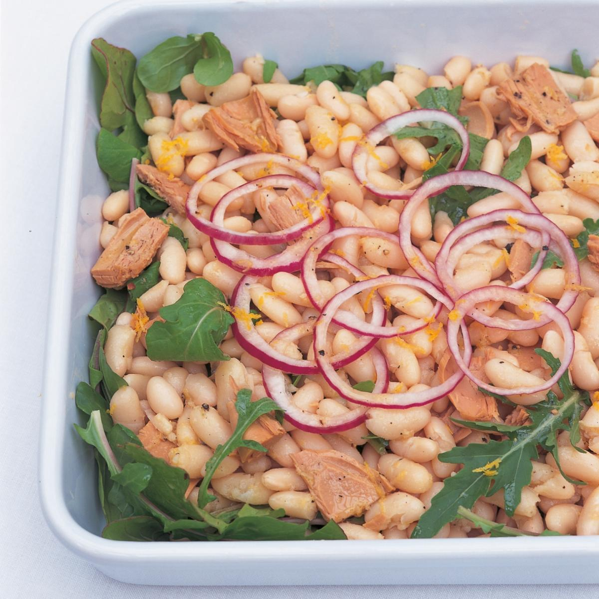 Htc white bean and tuna fish salad with lemon pepper dressing