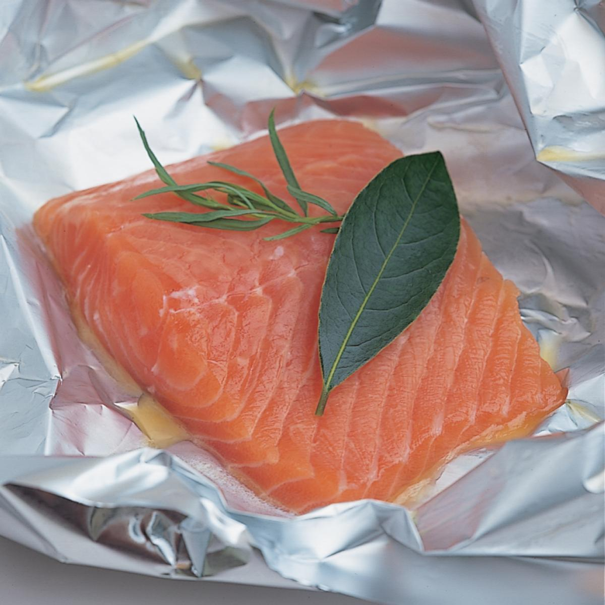Foil Baked Salmon Served With English Parsley Sauce Recipes