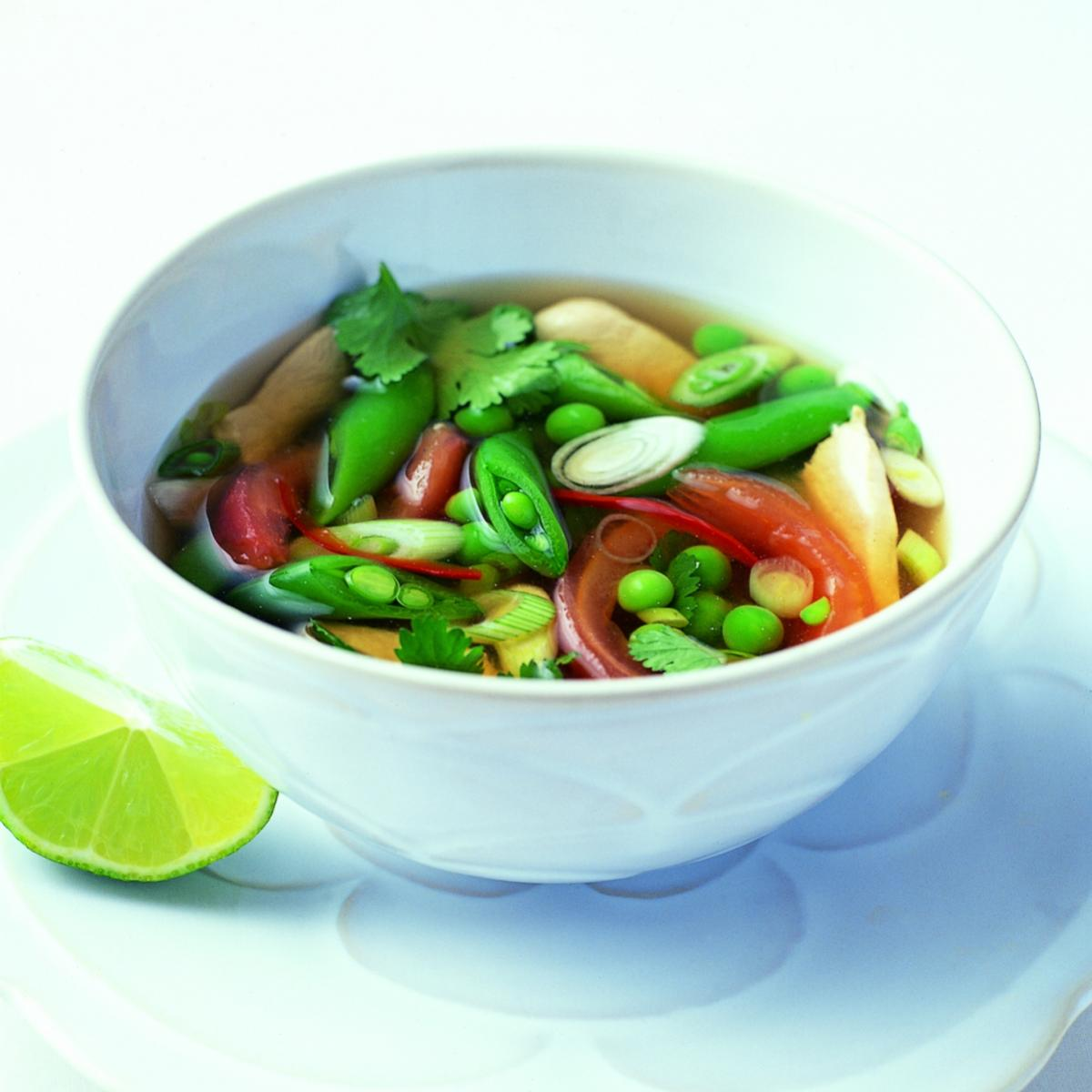 Ingredient soup hot and sour thai chicken broth 0