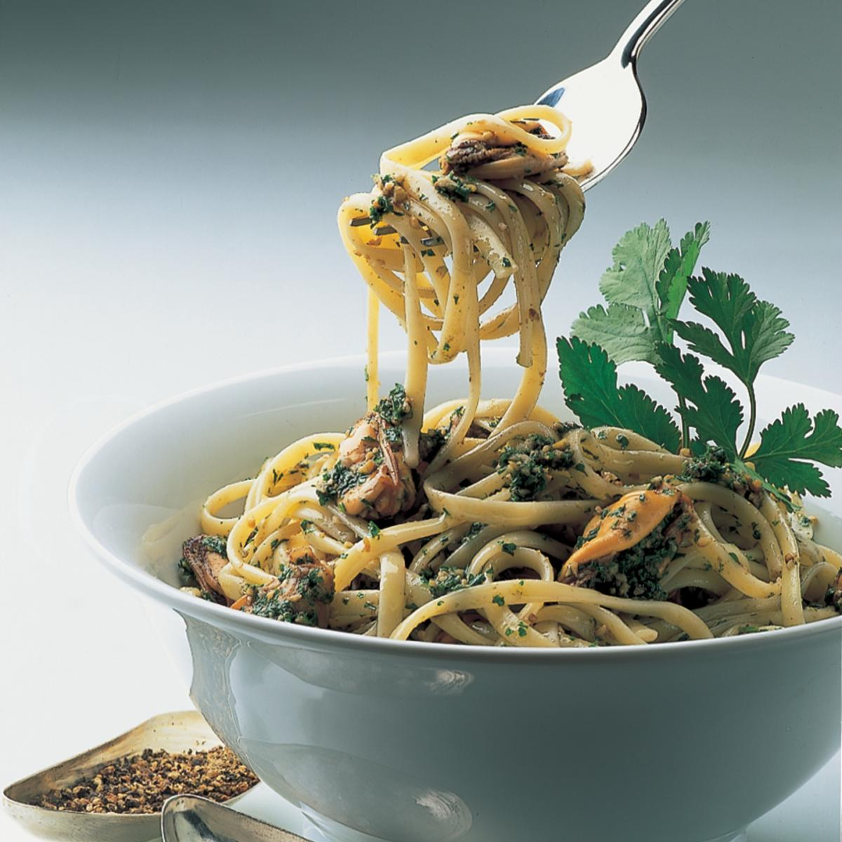 Italian linguine with mussels and walnut parsley pesto