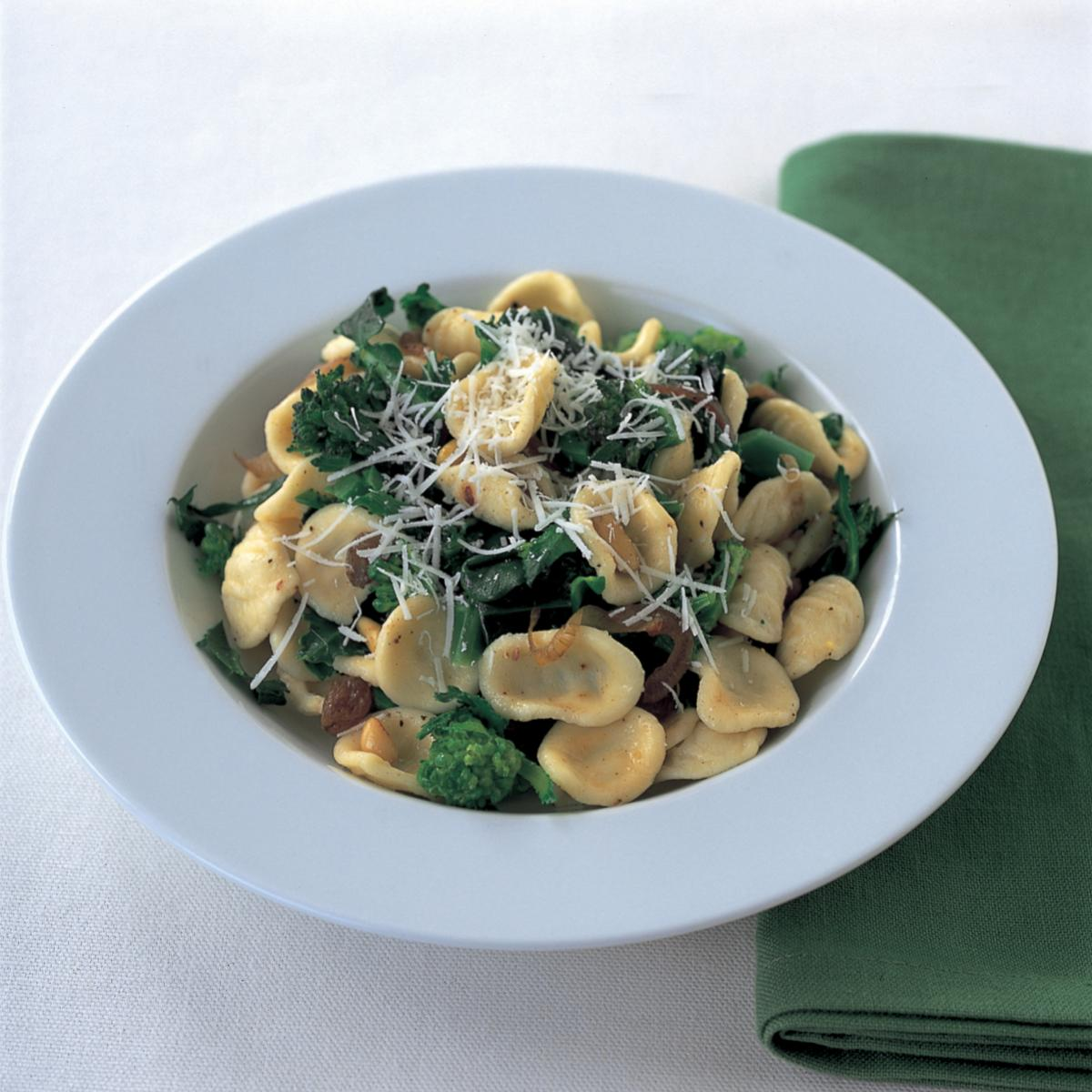 Italian orecchiette with sprouting broccoli pine nuts and sultanas 0