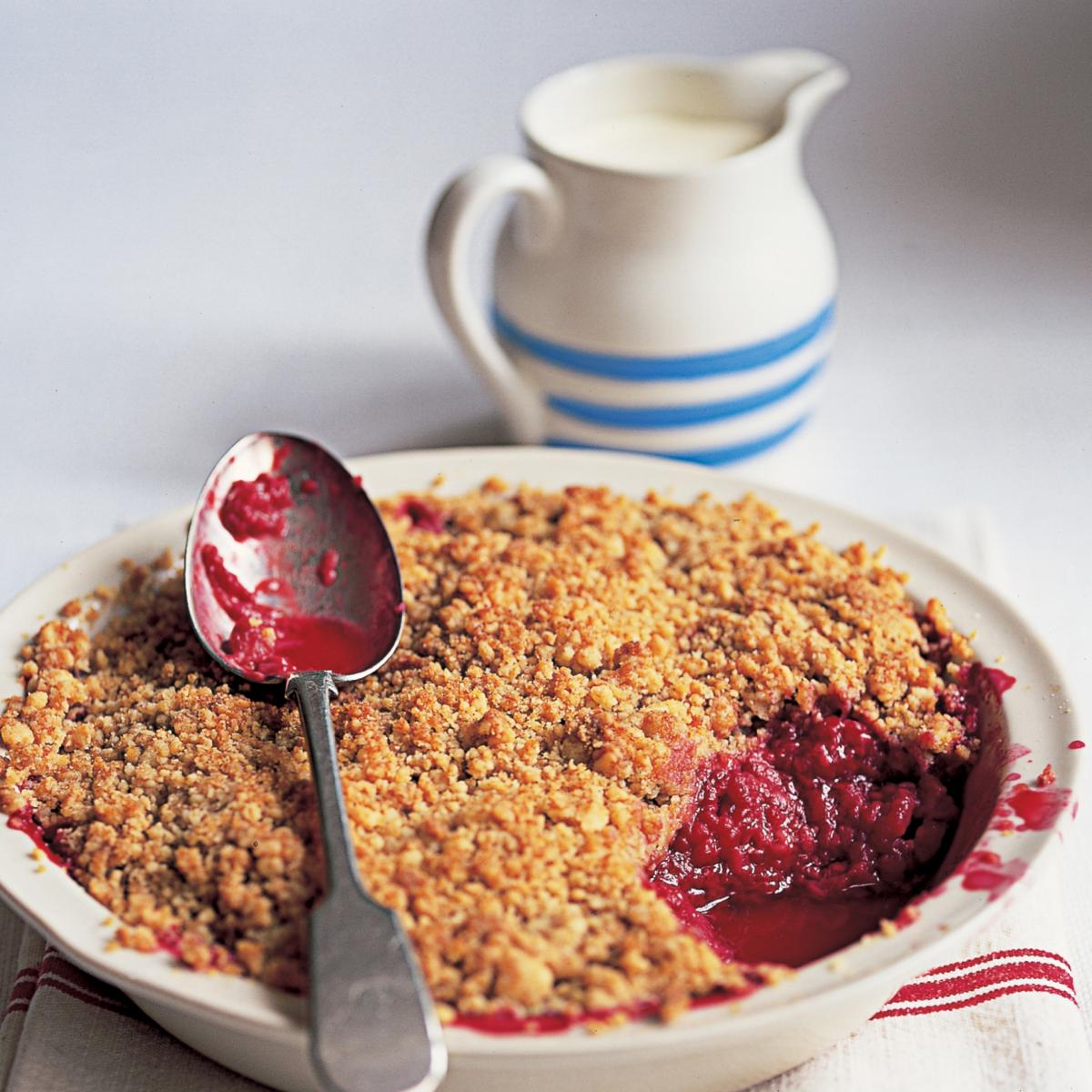 Puddings raspberry crumble