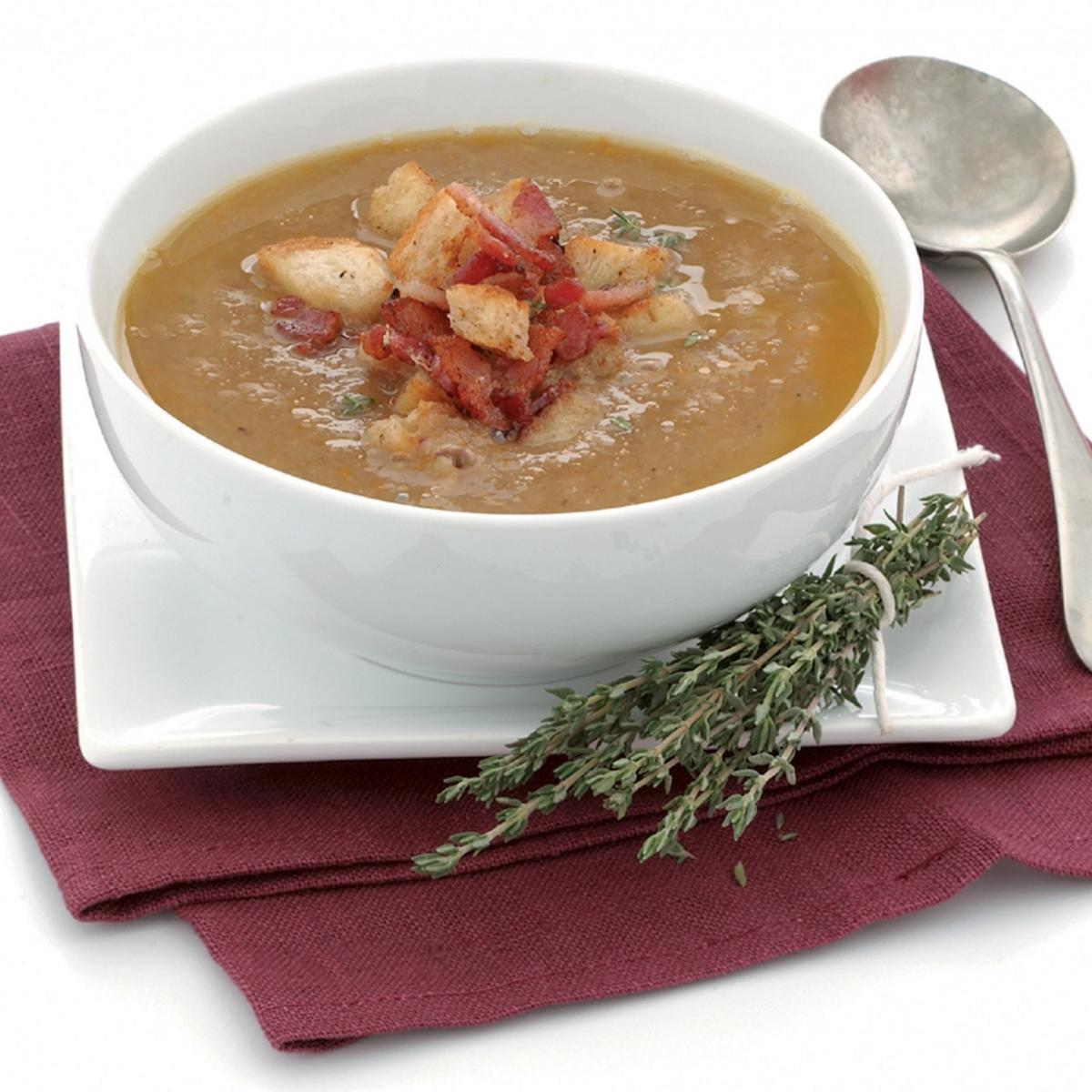 Soup chestnut soup with bacon and thyme croutons