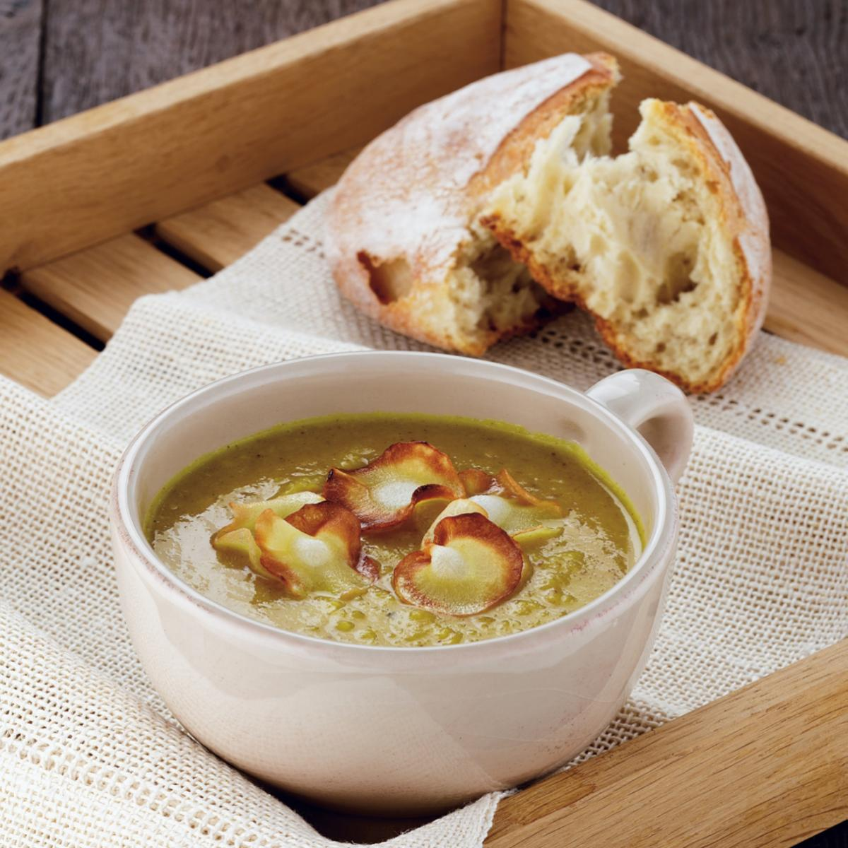 A picture of Delia's Curried Parsnip and Apple Soup with Parsnip Crisps recipe