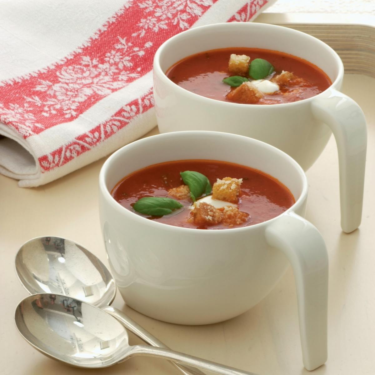A picture of Delia's Fresh Tomato Soup with Basil and Parmesan Croutons recipe