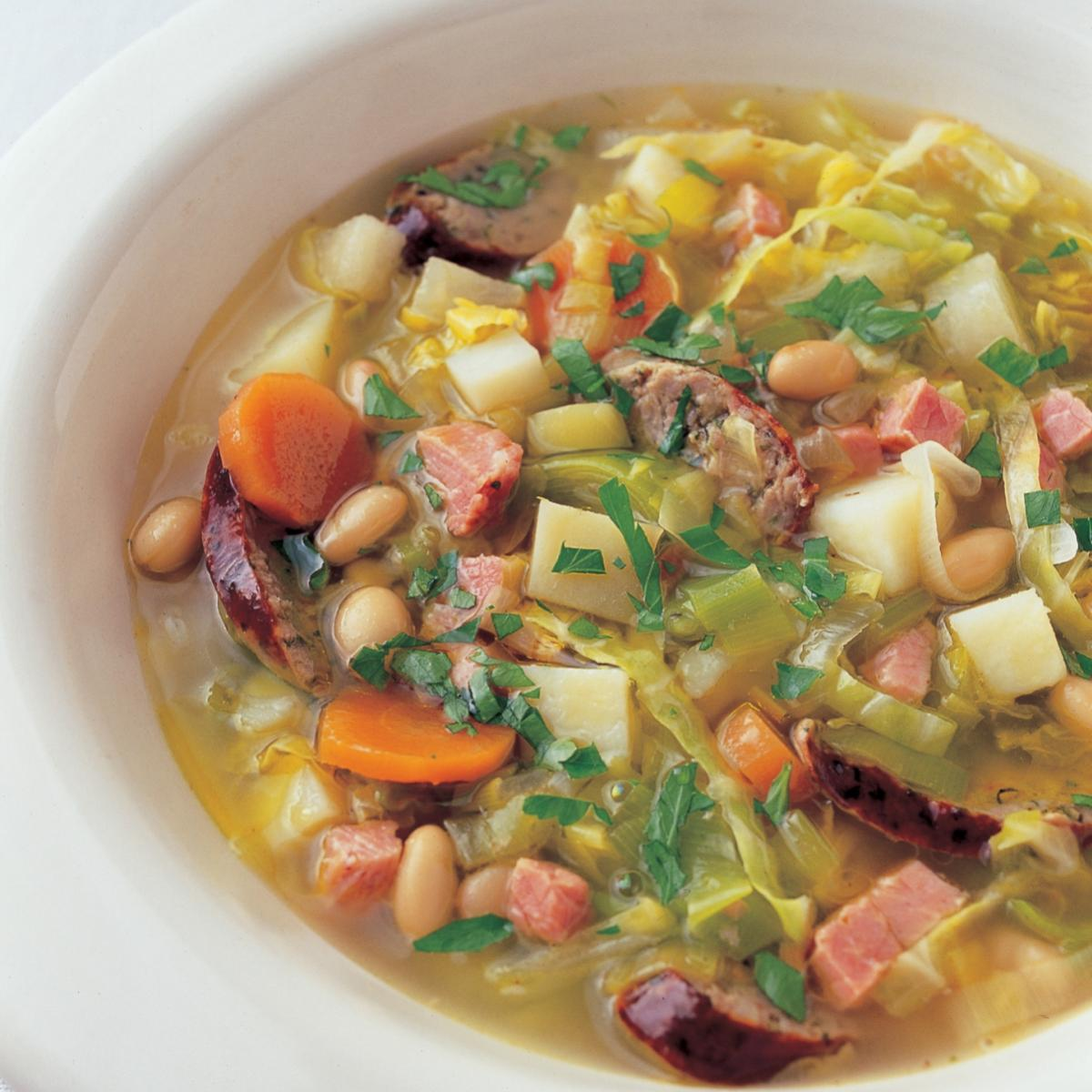 A picture of Delia's La Potee (French Farmhouse Soup with Bacon, Sausage and Beans) recipe