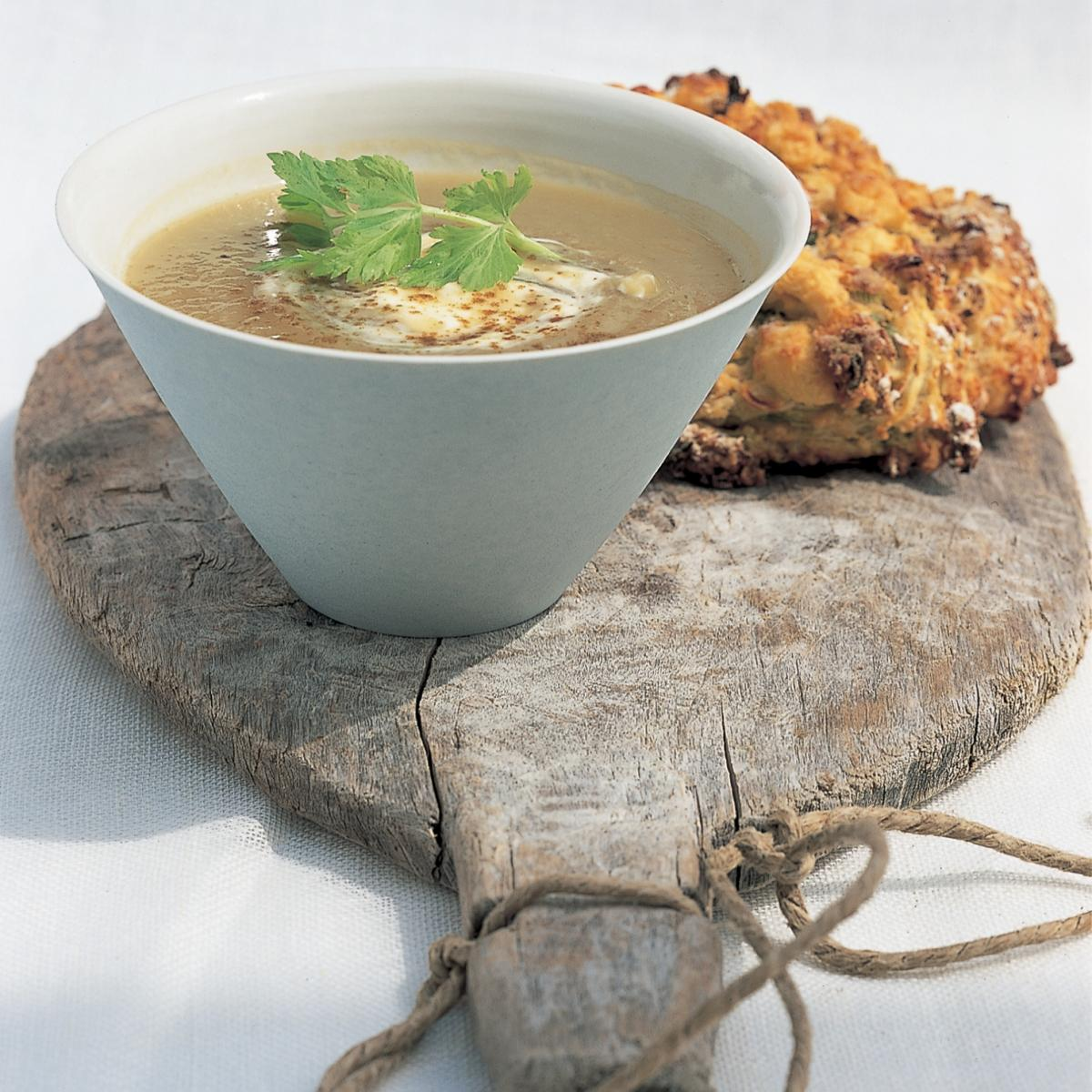 Soup slow cooked celery and celeriac soup