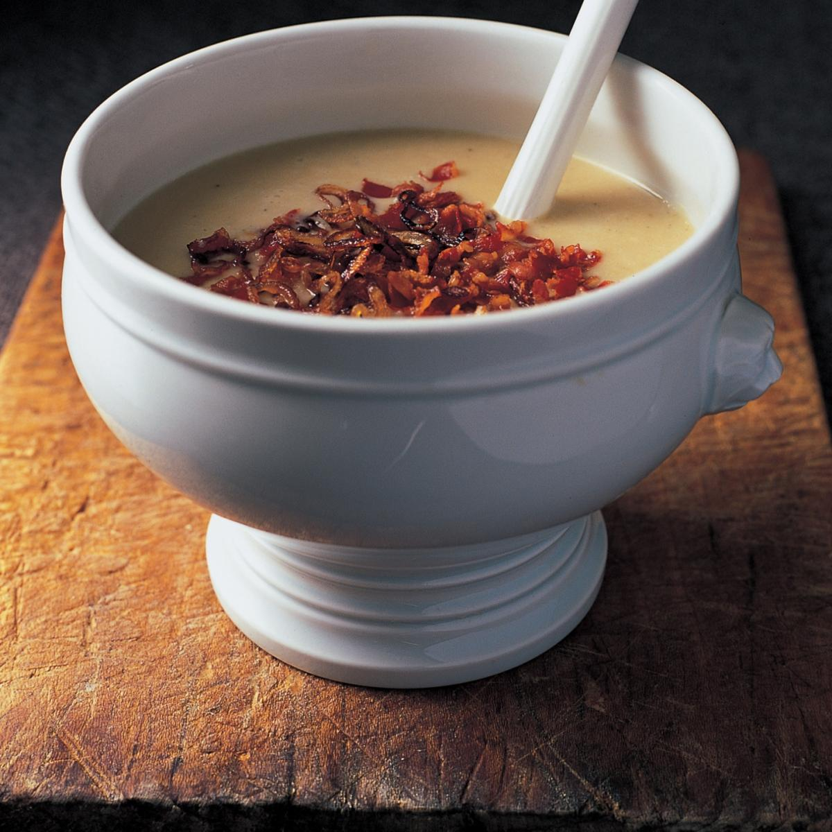 A picture of Delia's Tuscan White Bean Soup with Frizzled Shallots and Pancetta recipe