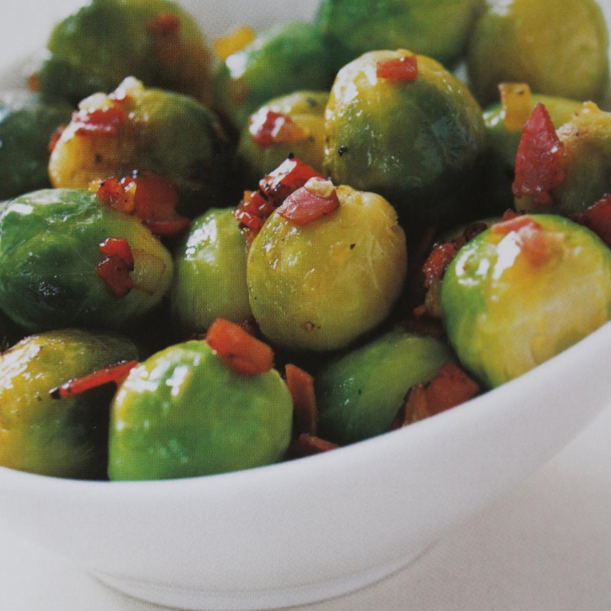 A picture of Delia's Caramelised Button Sprouts and Shallots with Sherry Vinegar recipe