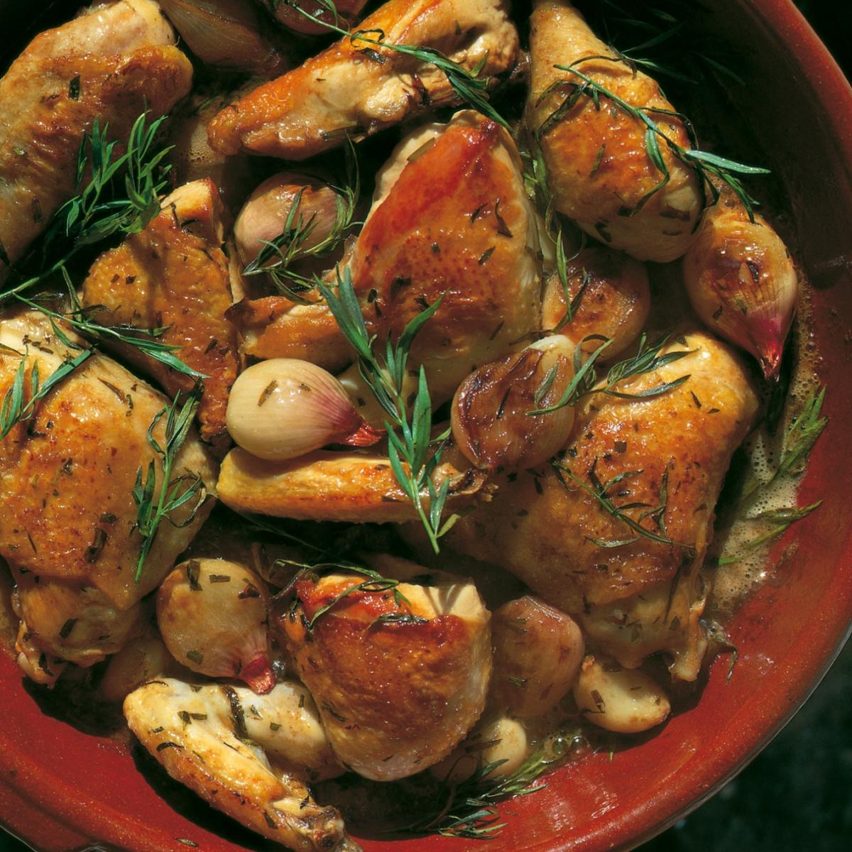 Summer chicken with sherry vinegar and tarragon sauce
