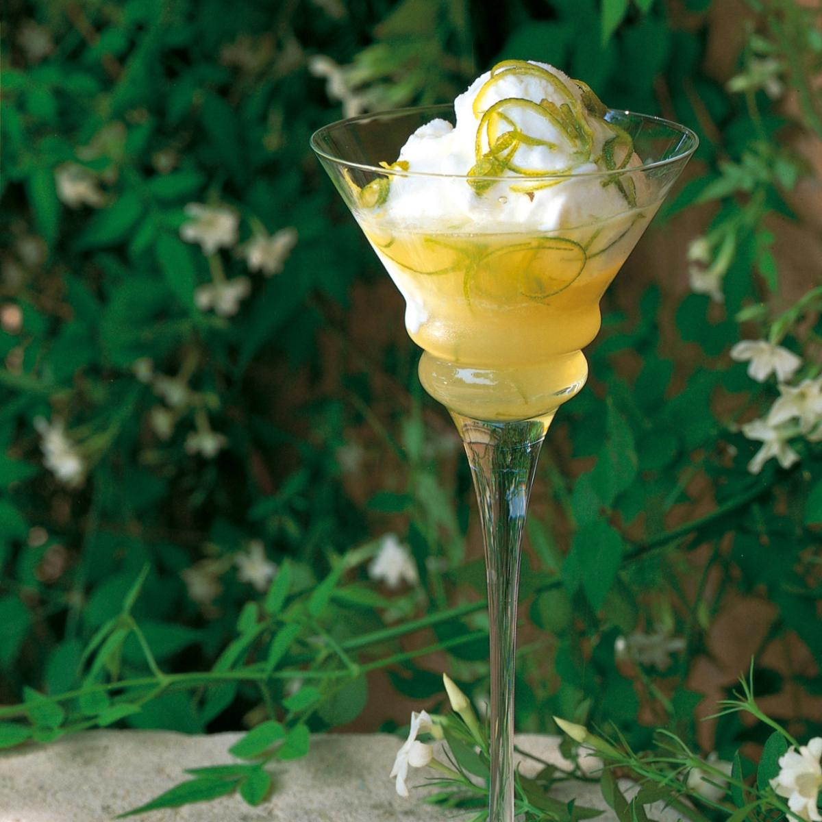 Summer coconut ice cream with lime syrup