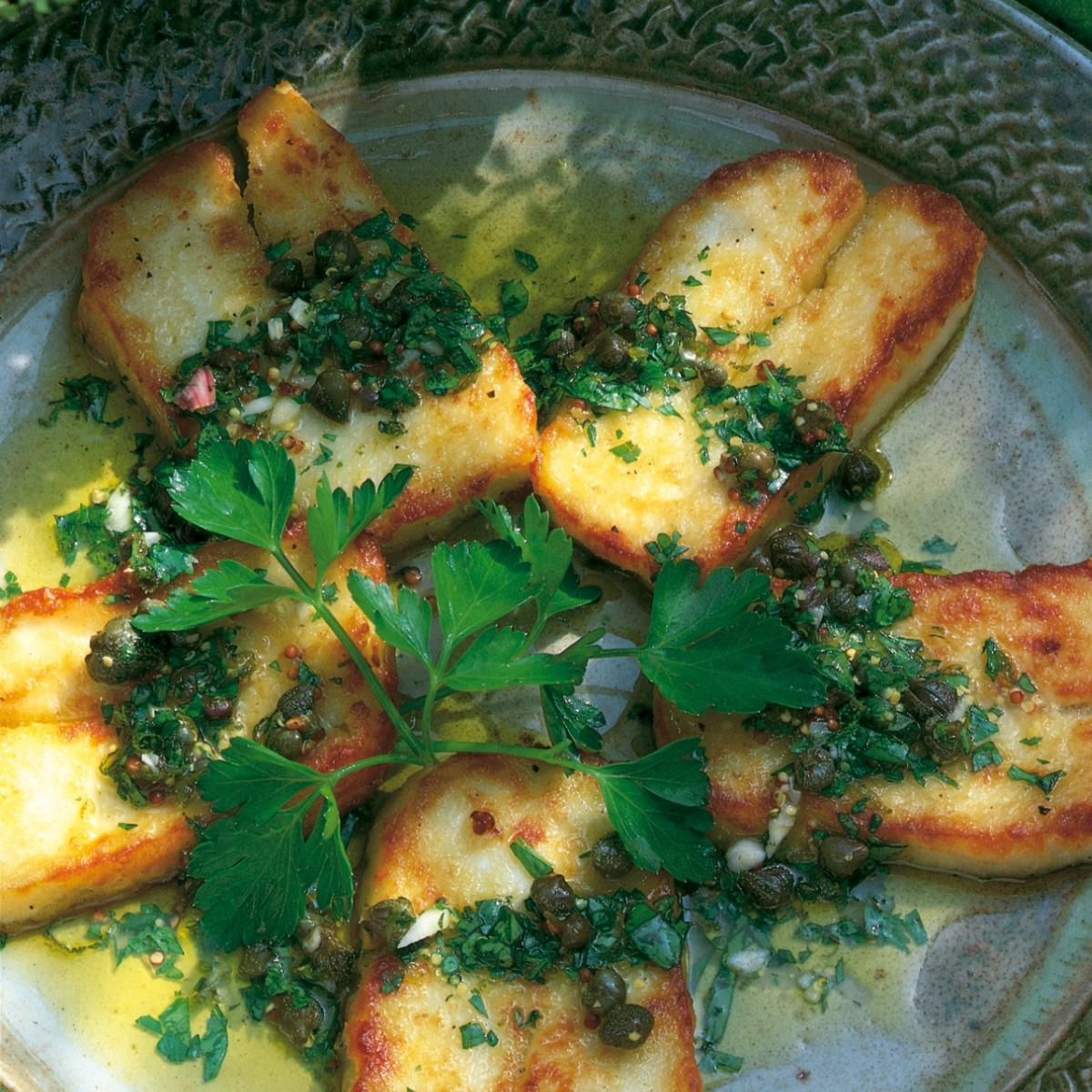 Summer fried halloumi cheese with lime and caper vinaigrette
