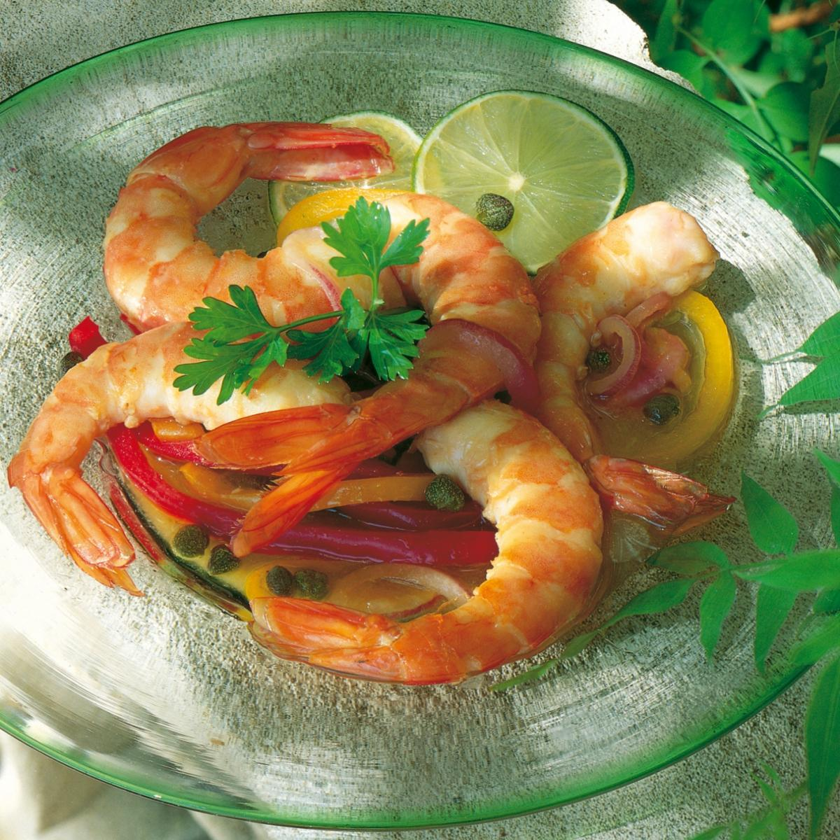 Summer hot and sour pickled prawns