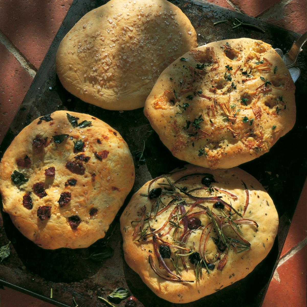 A picture of Delia's Mini Focaccia Bread with Red Onion, Olive and Rosemary Topping recipe