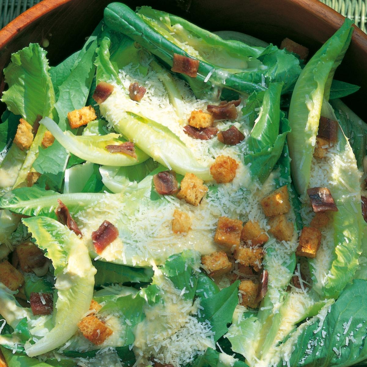 Summer mixed leaf caesar salad