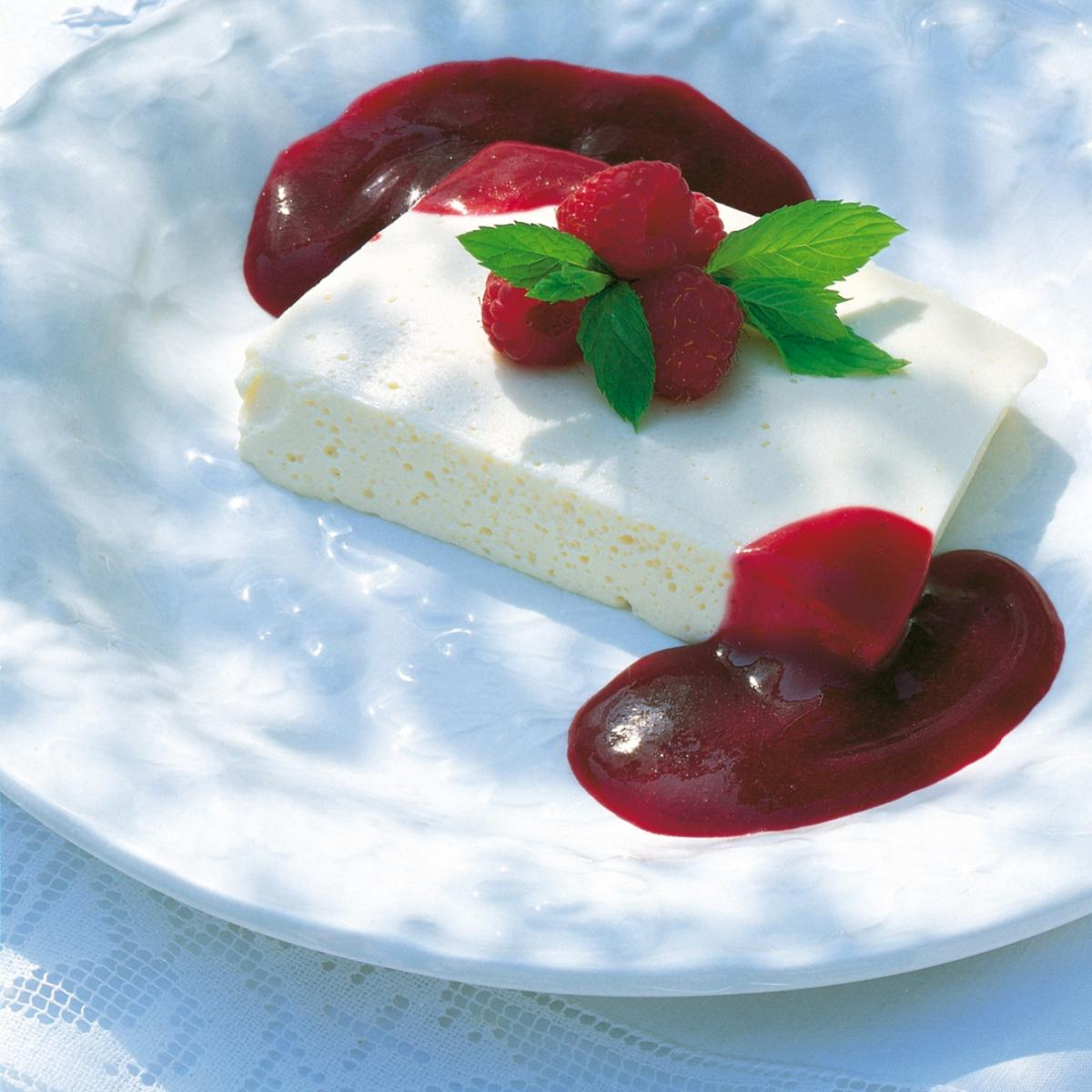 A picture of Delia's Vanilla Cream Terrine with Raspberries and Blackcurrant Coulis recipe
