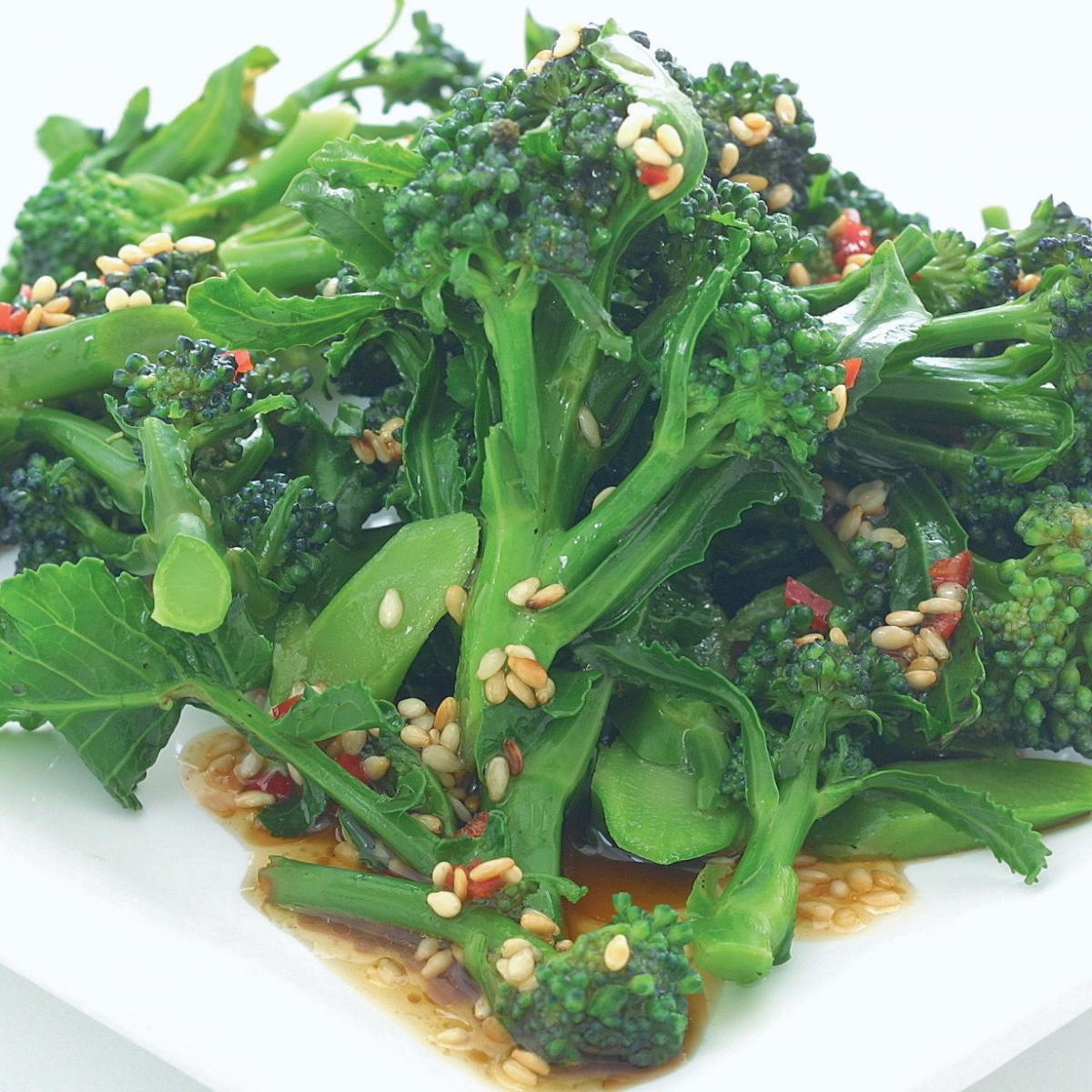 Vegetarian purple sprouting broccoli with chilli lime and sesame dressing