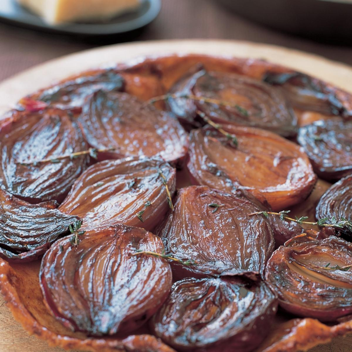Vegetarian red onion tart tatin