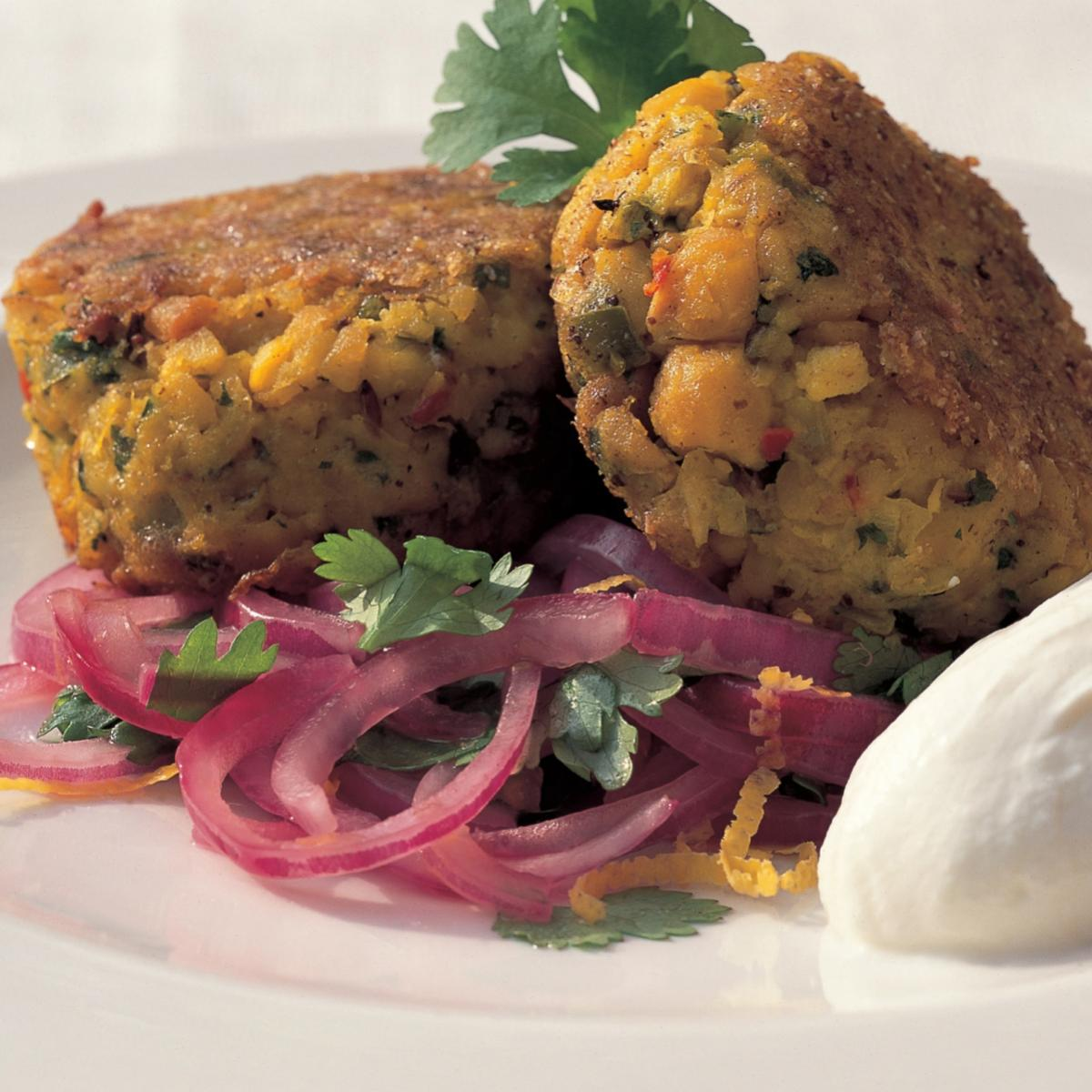A picture of Delia's Spiced Chickpea Cakes with Red Onion and Coriander Salad recipe
