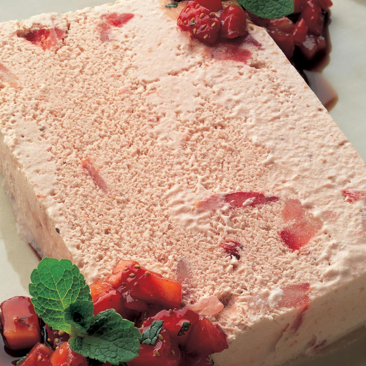 Vegetarian strawberry and balsamic ice cream with sweet strawberry and mint salsa