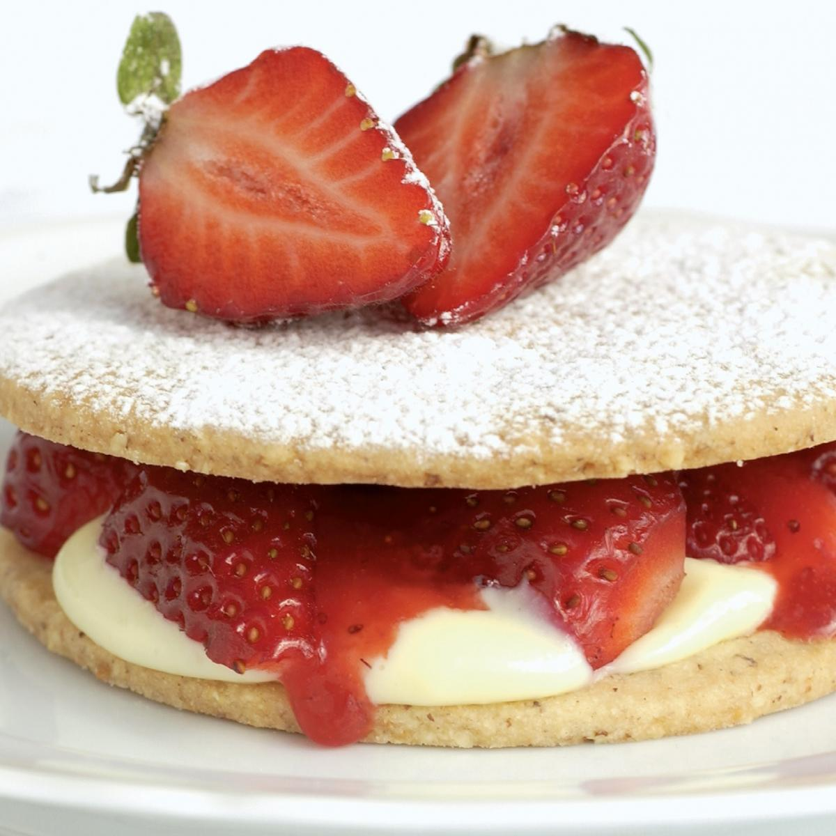 Vegetarian strawberry hazelnut shortcakes with strawberry puree