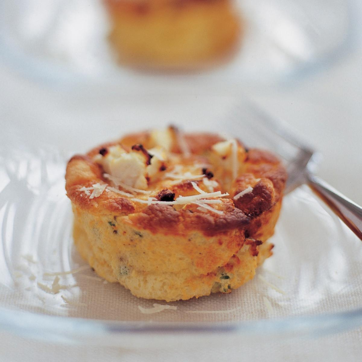A picture of Delia's Twice-baked Goats' Cheese Souffles with Chives recipe