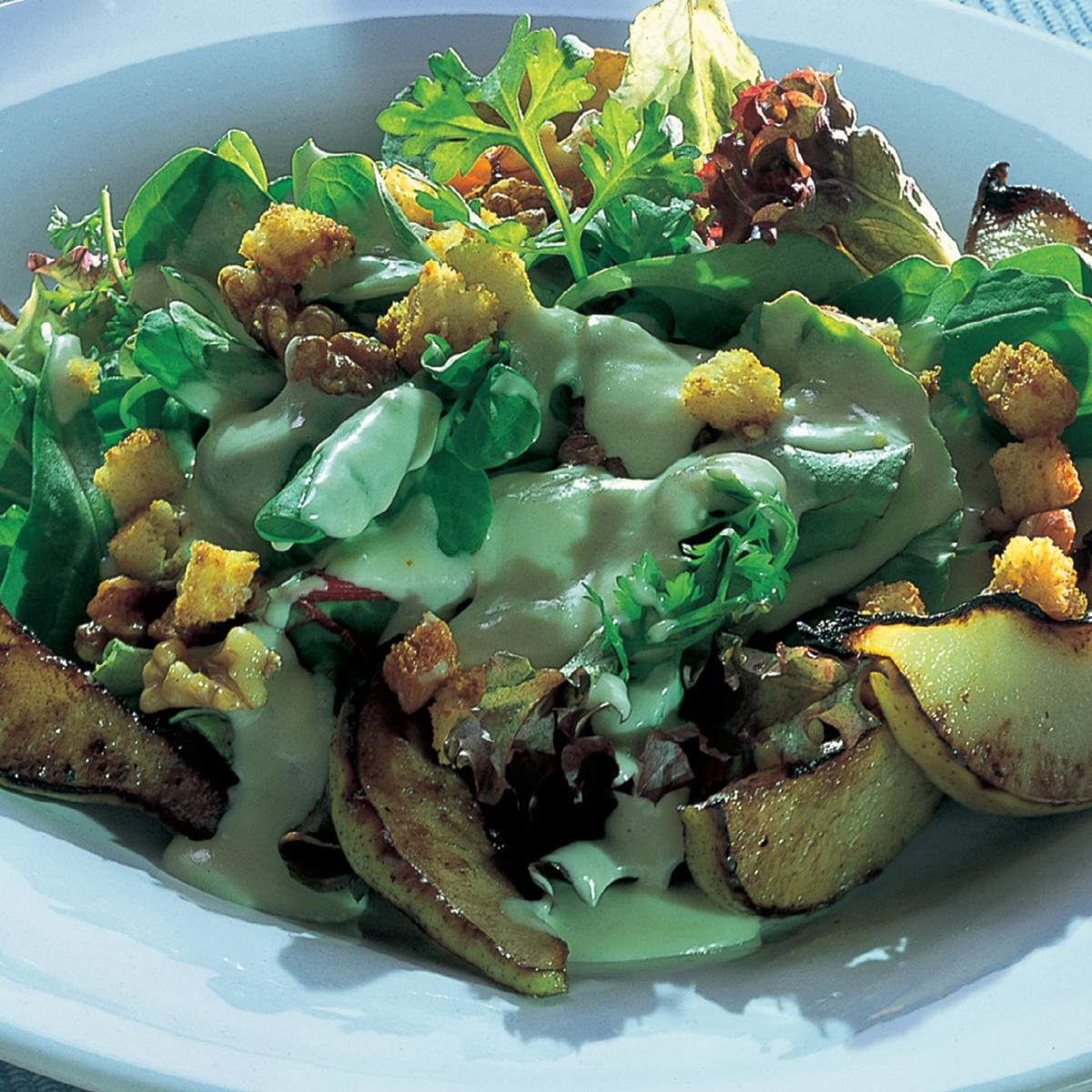A picture of Delia's Warm Pear and Walnut Salad with Roquefort Dressing and Croutons recipe