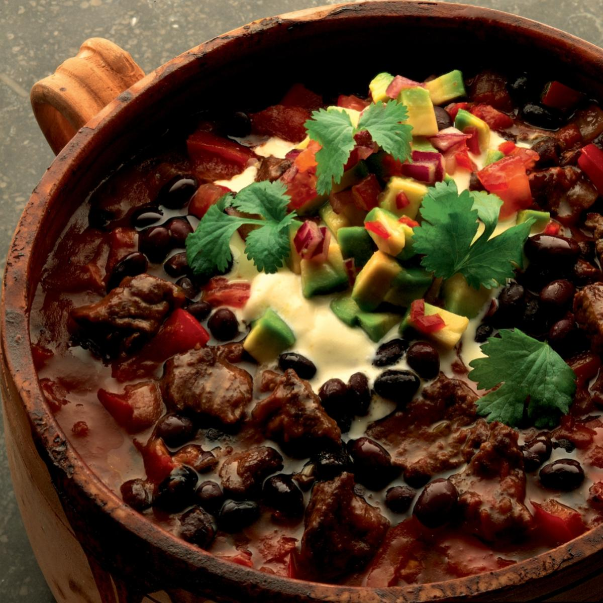 A picture of Delia's Black Bean Chilli with Avocado Salsa recipe