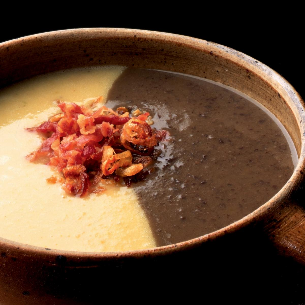 Winter black bean soup and tuscan white bean soup