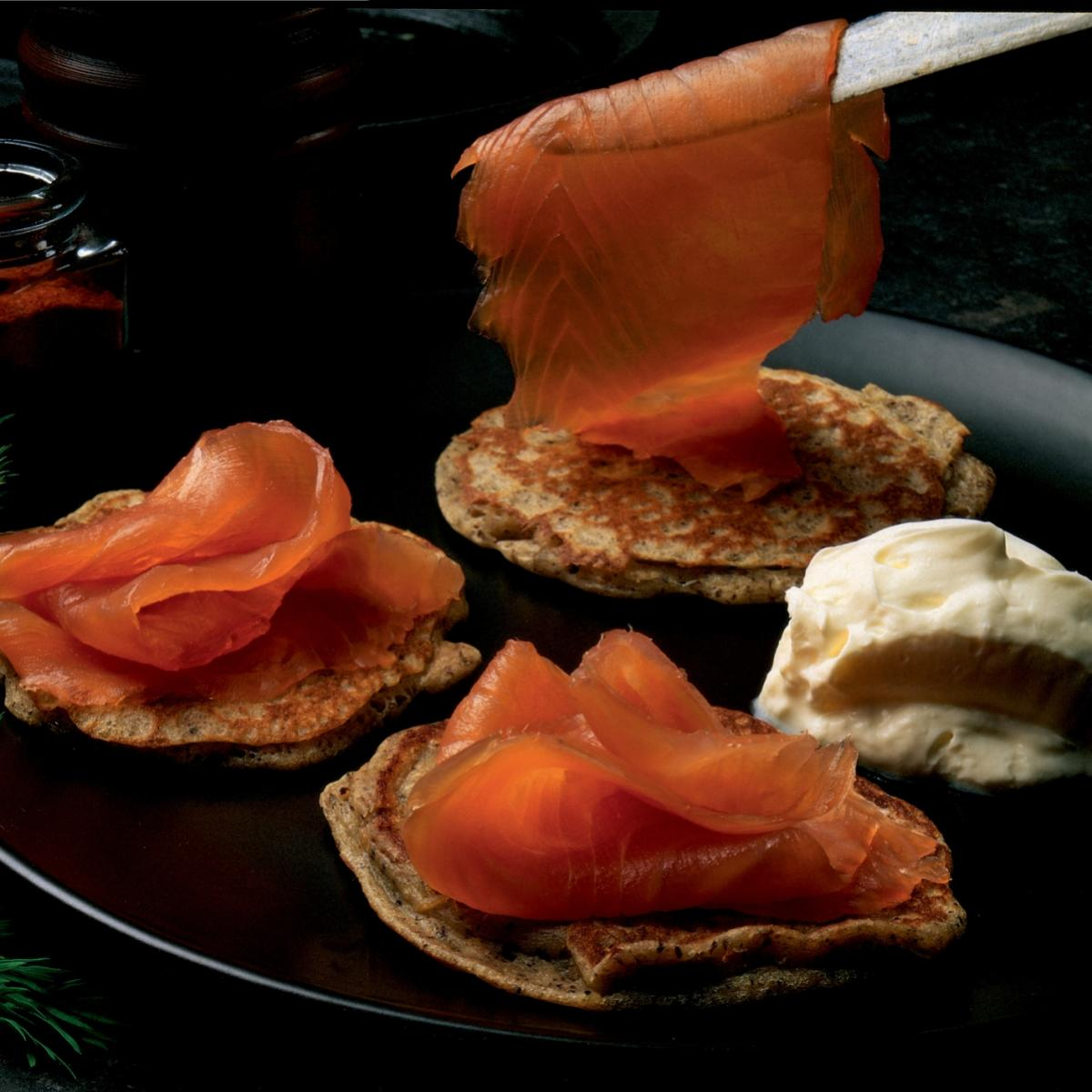 A picture of Delia's Warm Potato Blinis with Smoked Salmon, Crème Fraîche and Dill recipe