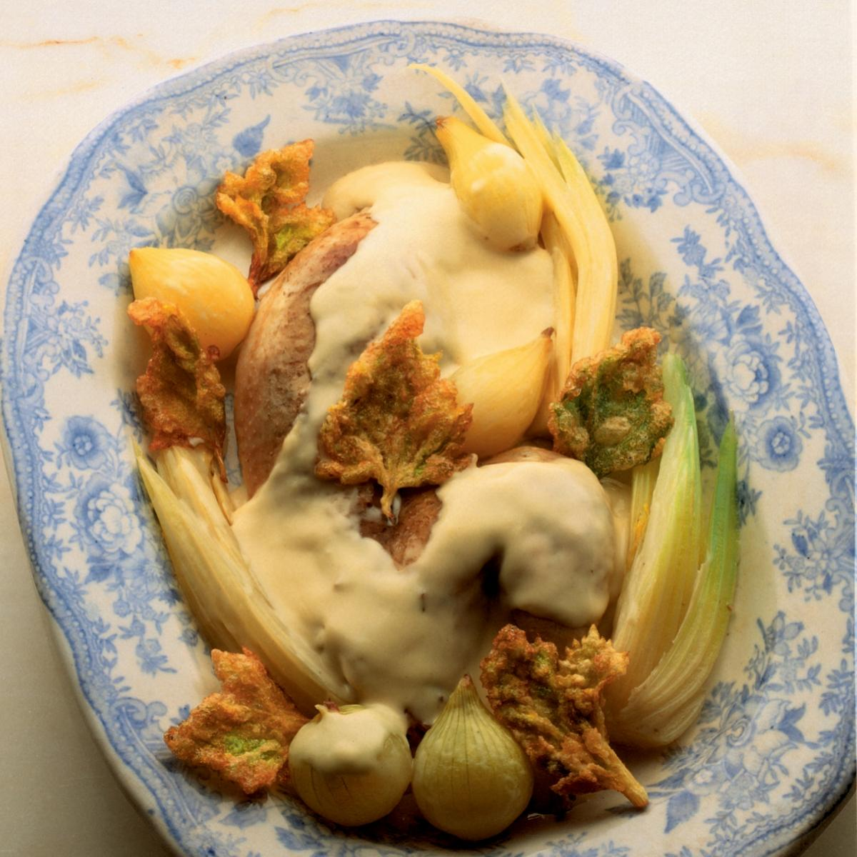 Winter poached pheasant with celery