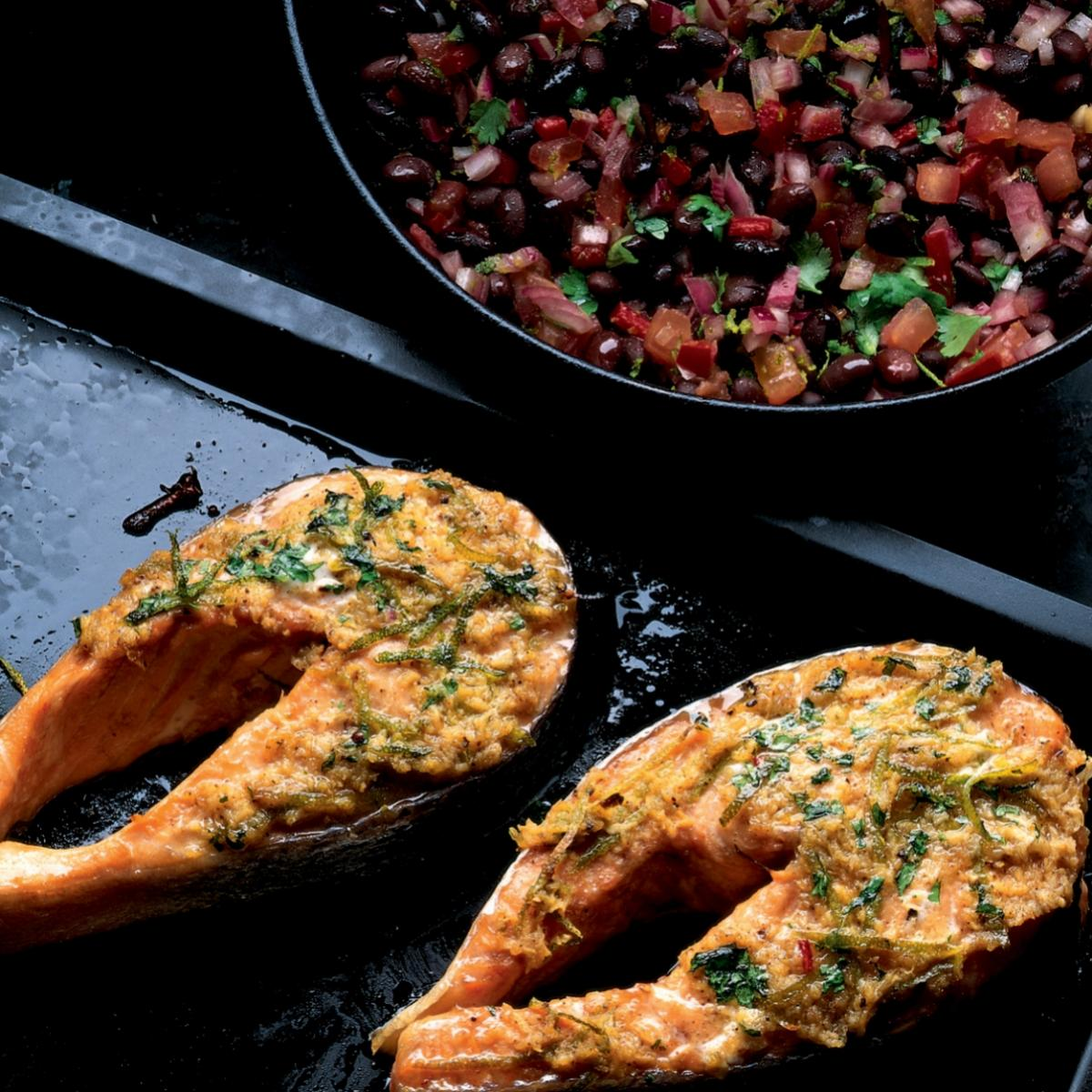 Winter seared spiced salmon steaks with black bean salsa