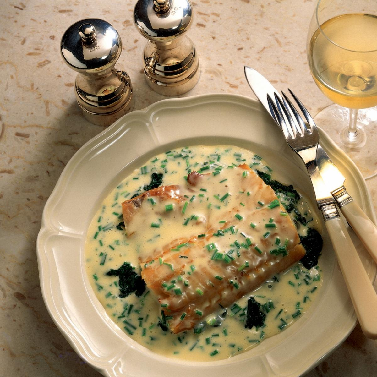 A picture of Delia's Smoked Haddock with Spinach and Chive Butter Sauce recipe