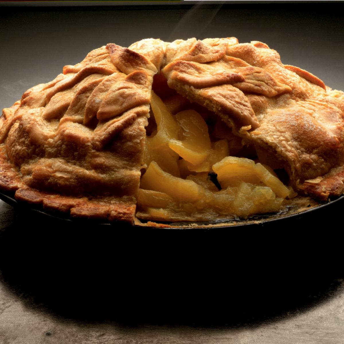Winter traditional apple pie with a cheddar crust