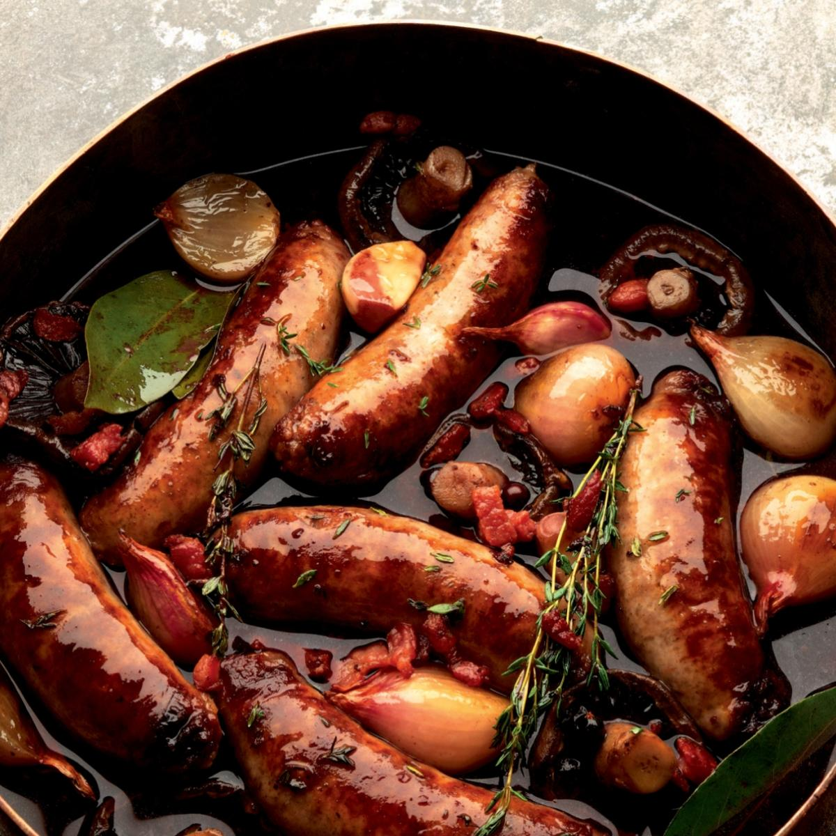 Winter venison sausages braised in red wine