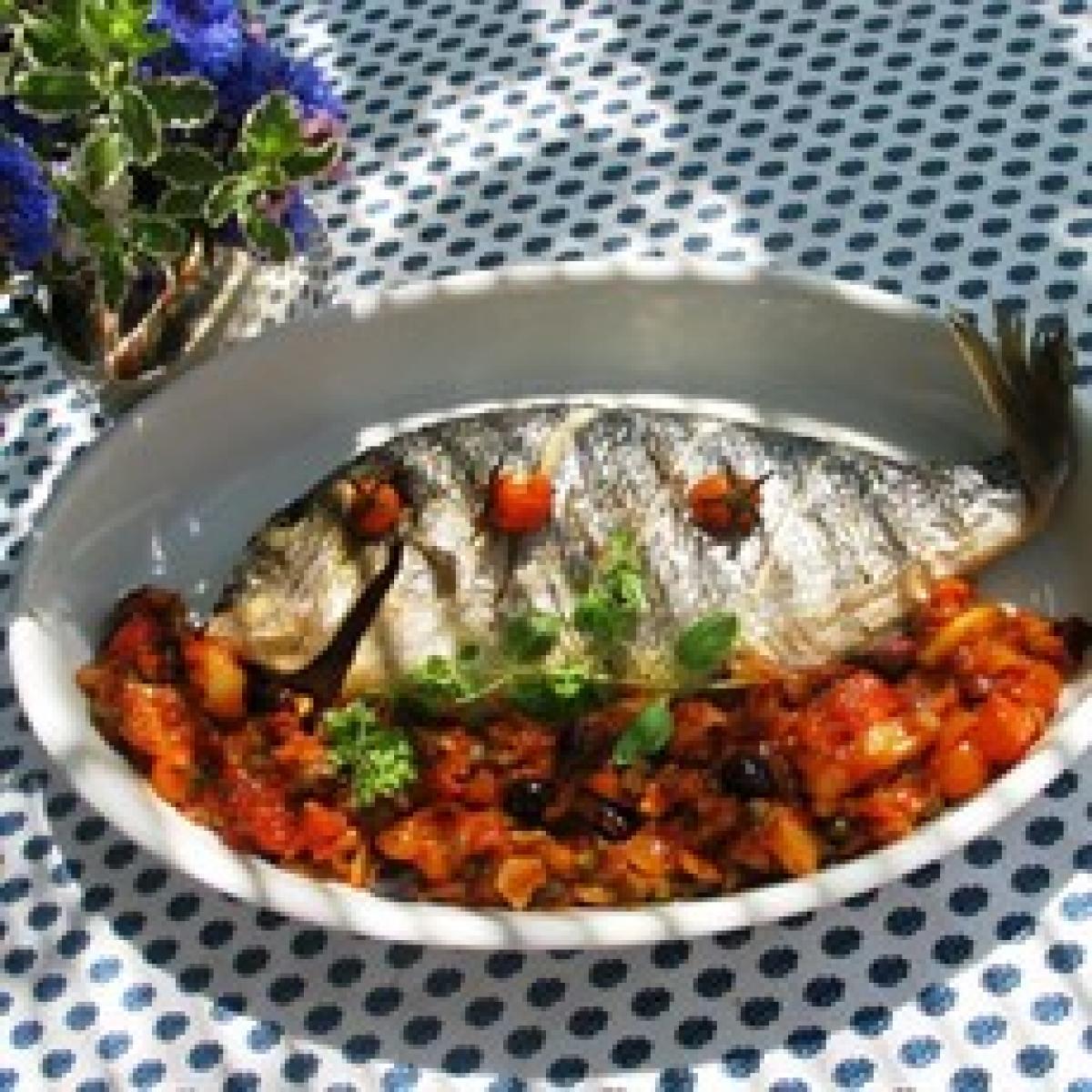 A picture of Delia's Sea Bream with Mediterranean Sauce recipe