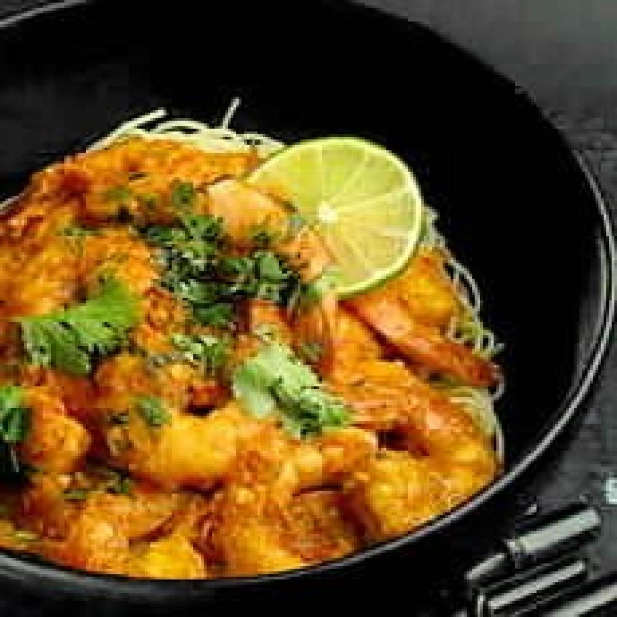 A picture of Delia's Angel-hair Pasta with Thai Spiced Prawns recipe