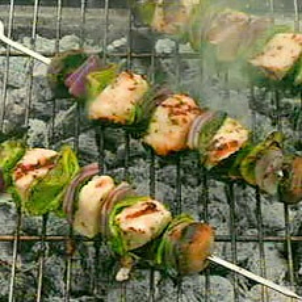 A picture of Delia's Marinated Halloumi Cheese Kebabs with Herbs recipe