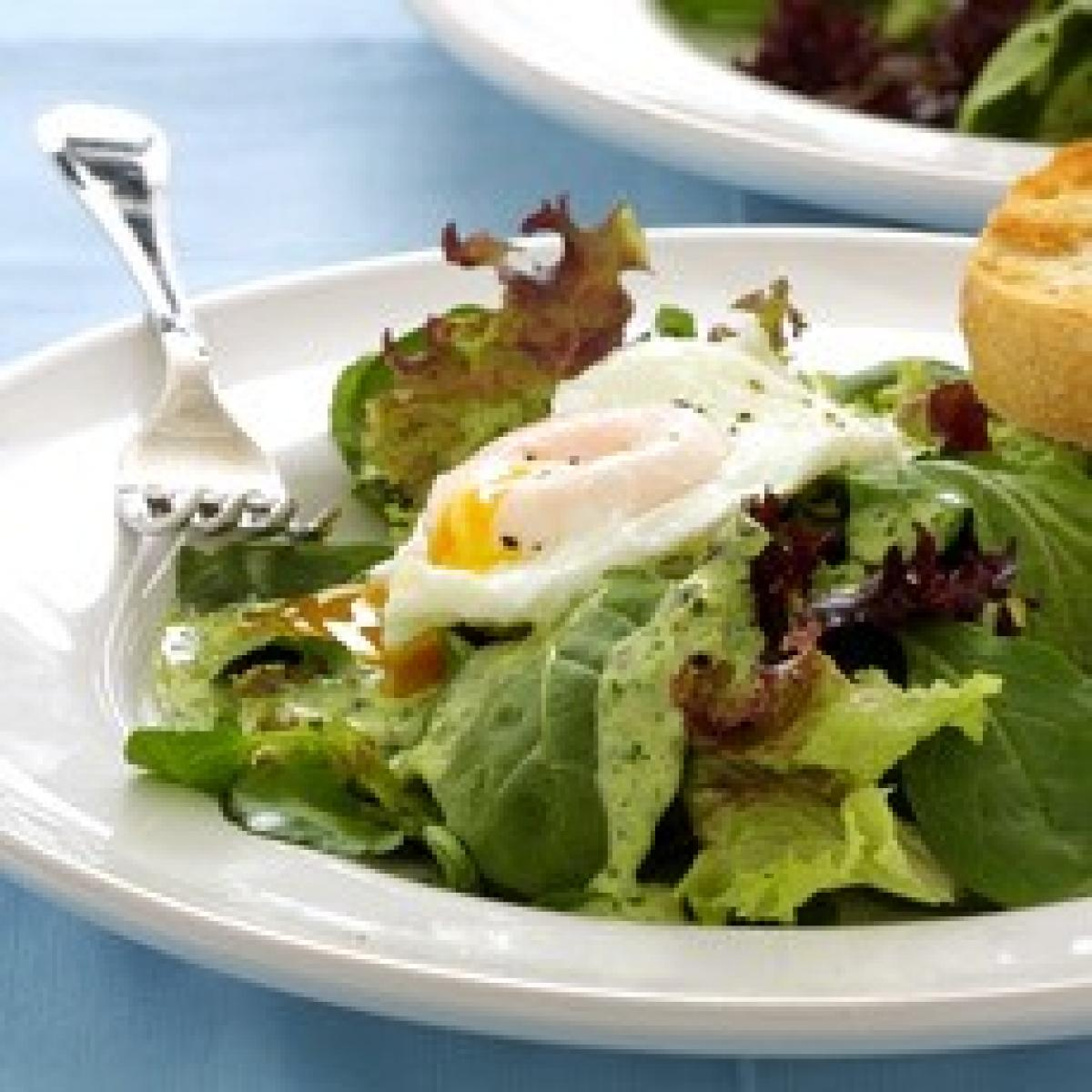 A picture of Delia's Cold Poached Egg Salad with Watercress Sauce recipe
