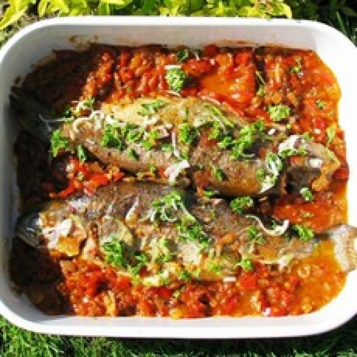 A picture of Delia's Marinated Trout with Tomatoes, Olives and Peppers recipe