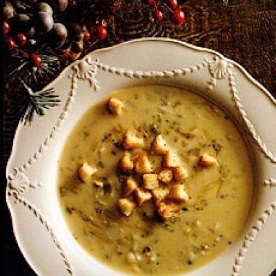Christmas Soup.Stilton Soup With Parmesan Croutons