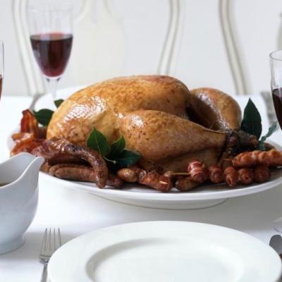 Christmas Roast.Traditional Roast Turkey With Pork Sage And Onion Stuffing