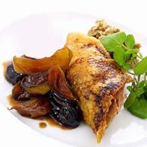 A picture of Delia's Crisp Roast Gressingham Duck with a Forcemeat Stuffing and a Confit of Apples and Prunes recipe